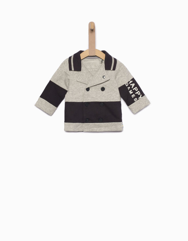 Baby boys' grey pea jacket