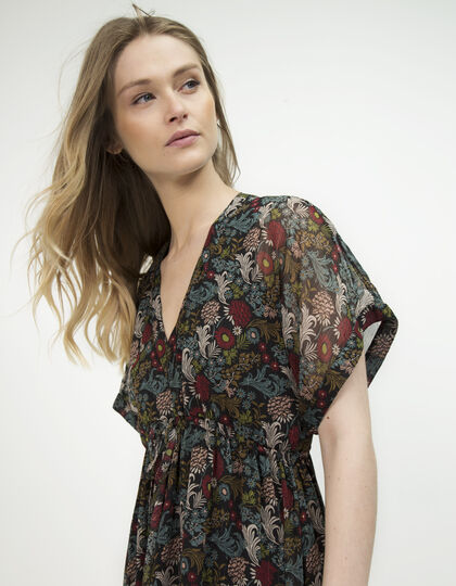 Long floral print dress - IKKS Women