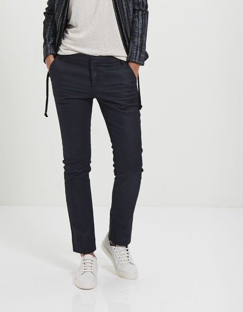 Women's raw blue jeans