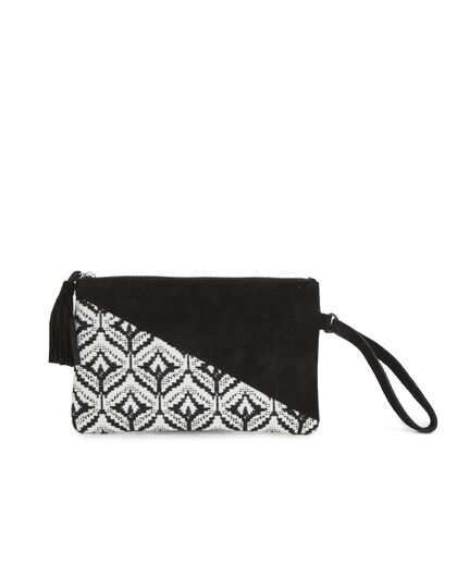 Women's bi-fabric clutch - I.Code