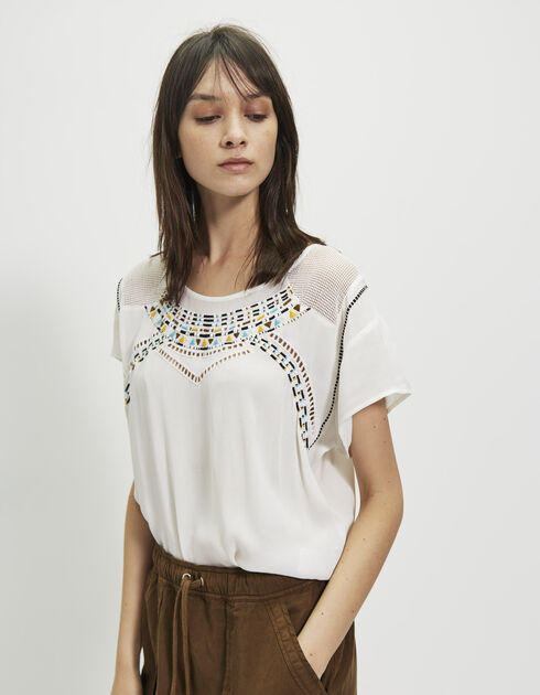 Women's embroidered crêpe top