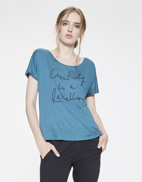 Women's embroidered cotton jersey mote T-shirt