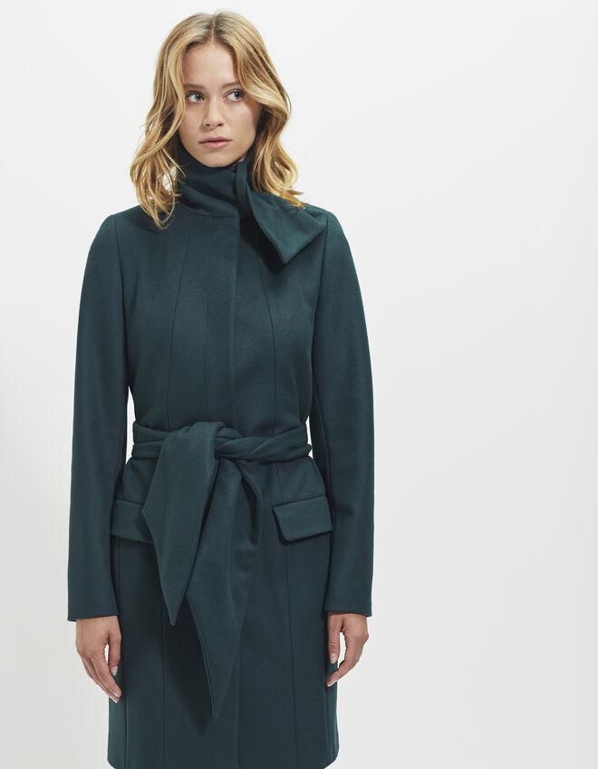 Manteau long vert femme ikks mode femme automne hiver