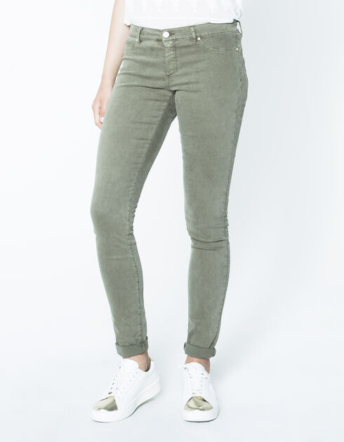Jean sculpt up kaki, coupe jegging