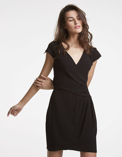 Draped crepe dress - IKKS Women