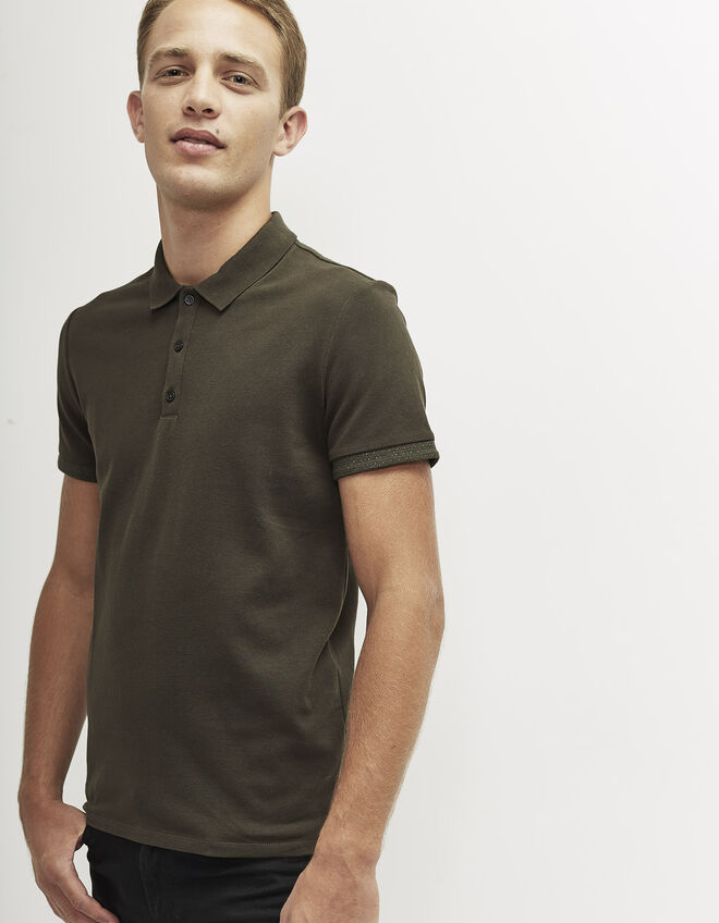 Men's khaki polo shirt
