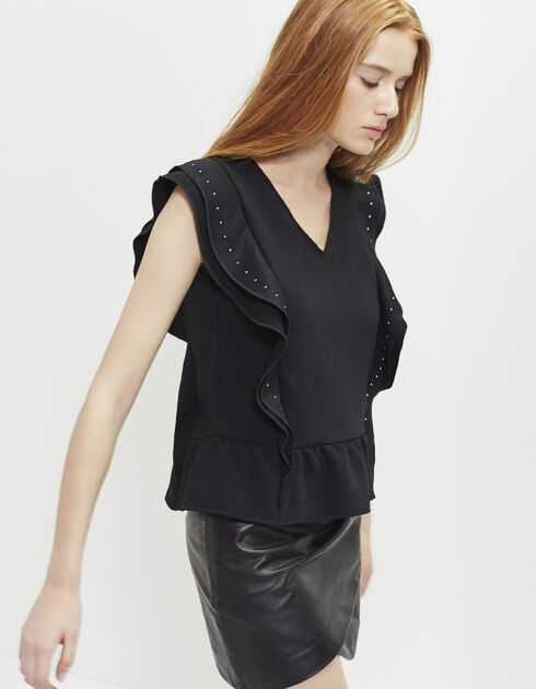 Women's black crêpe top