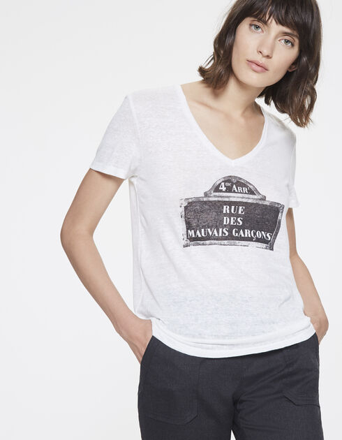 Women's V-neck linen T-shirt