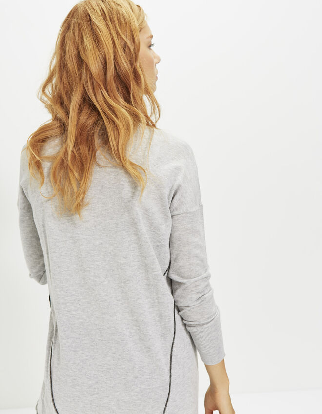 Women's grey mid-length cardigan