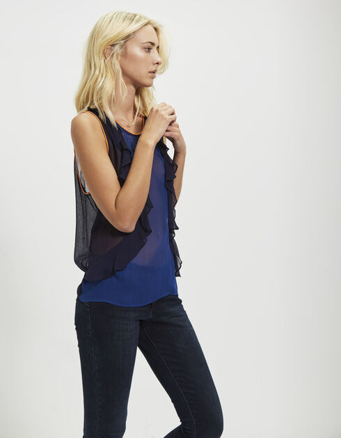 Women's two-tone crêpe top