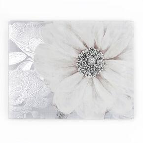 Fleur sur fond Gris-Toile imprimée, , large