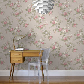 Cottage Garden Taupe Wallpaper, , large