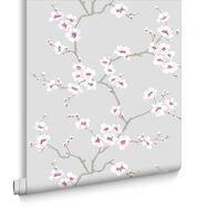 Apple Blossom Tree Grey Wallpaper, , large