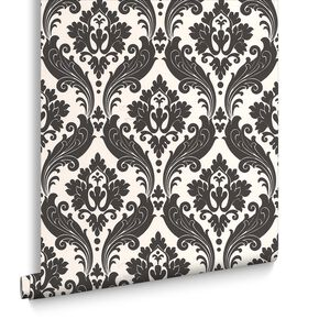 Vintage Flock Pearl and Black Wallpaper, , large