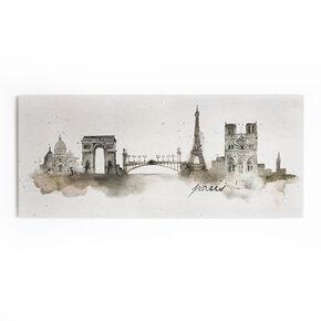 Paris-Toile imprimée façon aquarelle, , large