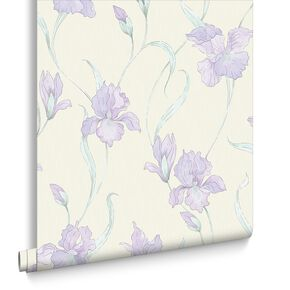 Iris White and Purple Wallpaper, , large
