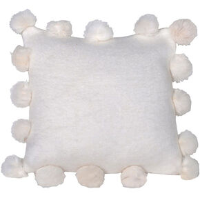 White Pom Pom Cushion Cover, , large