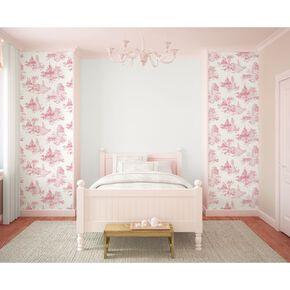 Princess Toile Pink Wallpaper, , large