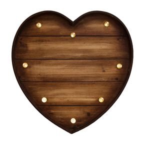 Lit Wood Effect Heart, , large