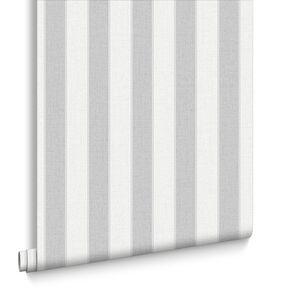 Ticking Stripe Soft Grey Wallpaper, , large