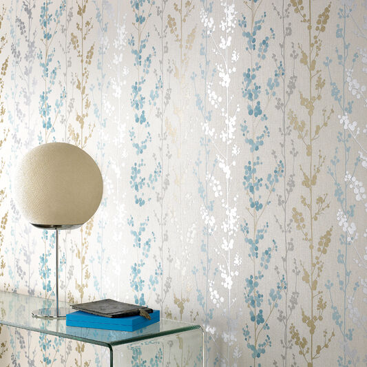 Berries Teal and Gold and Silver Wallpaper, , large