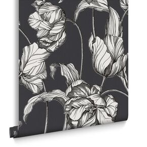 Harem Tulips Grey Wallpaper, , large