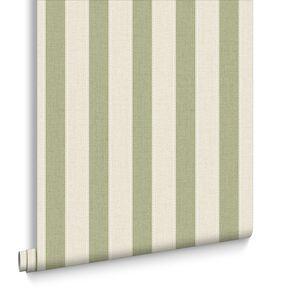 Ticking Stripe Spring Green Wallpaper, , large