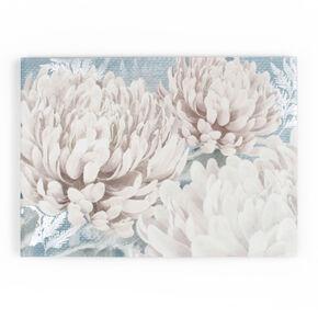 Fleur sur fond Bleu sarcelle-Toile imprimée, , large