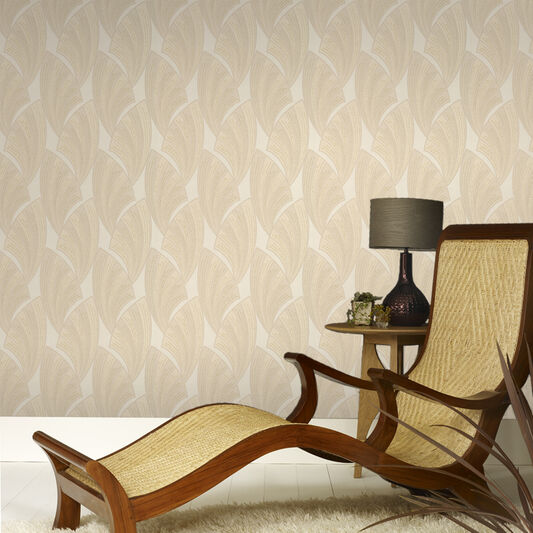 Novella Ecru and Gold Wallpaper, , large