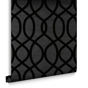 Knightsbridge Flock Noir Wallpaper, , large