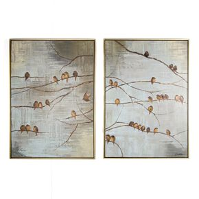 Flock Of Birds Handpainted Framed Canvas, , large