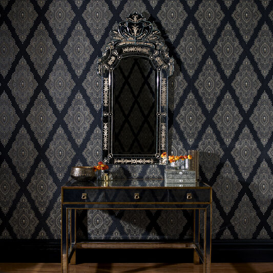 Jewel Black and Gold Wallpaper, , large