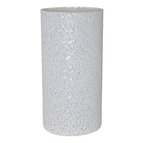 Sequined Large White Vase, , large
