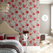 Amelia Coral and Gray Wallpaper, , large