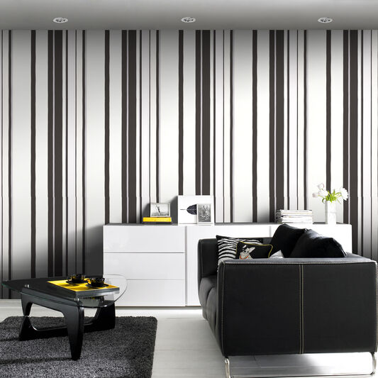 Hoppen Stripe Black and White and Silver Wallpaper, , large