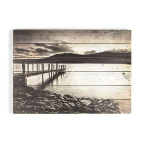 Tranquil Jetty Print On Wood, , large