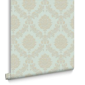 Jacquard Gold and Teal Wallpaper, , large
