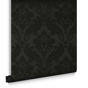 Vintage Flock Black Wallpaper, , large