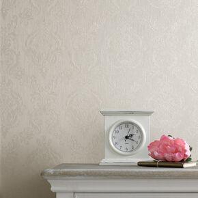 Damask Cream Shimmer Wallpaper, , large