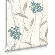 Elise Teal and Silver Wallpaper, , large