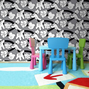 Mickey Handshake Grey Wallpaper, , large