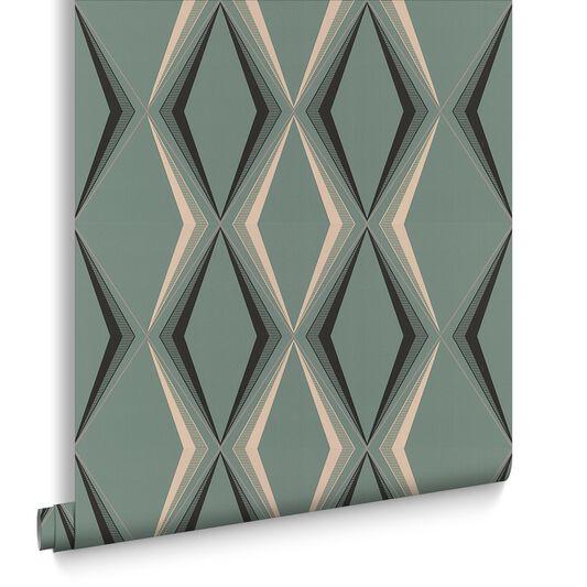 Deco Diamond Green Wallpaper, , large