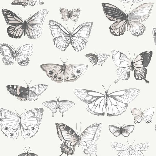 Butterflies Taupe and Cream Wallpaper, , large