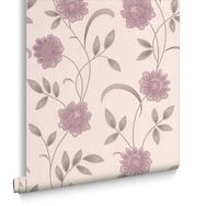 Sadie Lavender and Cream Wallpaper, , large