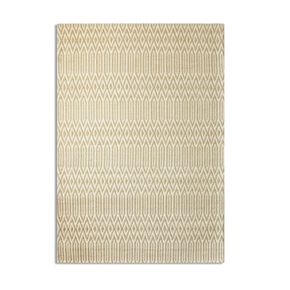 Geometric Natural and White Patterned Rug, , large