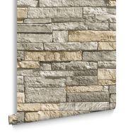 Ledgestone Grey and Terracotta Wallpaper, , large