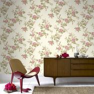 Cottage Garden Beige and Pink Wallpaper, , large