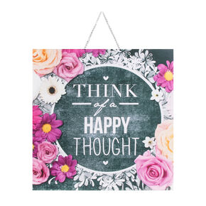 Chalkboard Happy Thoughts Printed Canvas, , large