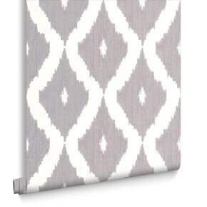Kelly's Ikat White and Soft Grey Wallpaper, , large