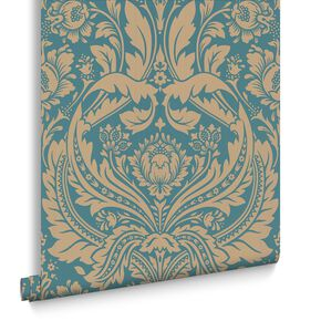 Desire Teal Wallpaper, , large